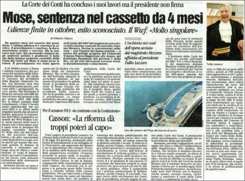 Da La Nuova Venezia di sabato 14 febbraio 2009